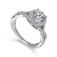 Marissa 14k White Gold Round Halo Engagement Ring