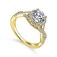 Marissa 14k Yellow Gold Round Halo Engagement Ring angle 3