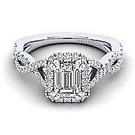 Marissa Platinum Emerald Cut Halo Engagement Ring angle 1