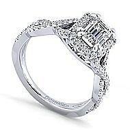 Marissa Platinum Emerald Cut Halo Engagement Ring angle 3