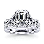Marissa Platinum Emerald Cut Halo Engagement Ring angle 4