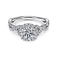 Marissa Platinum Round Halo Engagement Ring angle 1