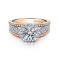 Marlow 18k White And Rose Gold Round Halo Engagement Ring angle 1