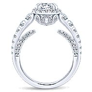 Marseille 14k White Gold Round Halo Engagement Ring angle 2