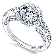 Marseille 14k White Gold Round Halo Engagement Ring angle 3