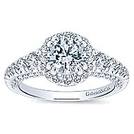 Marseille 14k White Gold Round Halo Engagement Ring angle 5