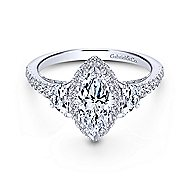 Martina 18k White Gold Marquise  3 Stones Engagement Ring angle 1