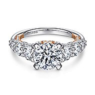 Martini 18k White And Rose Gold Round Straight Engagement Ring angle 1