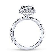 Mary 18k White Gold Round Double Halo Engagement Ring angle 2