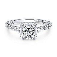 Matilda 14k White Gold Princess Cut Straight Engagement Ring angle 1