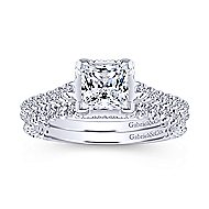 Matilda 14k White Gold Princess Cut Straight Engagement Ring angle 4