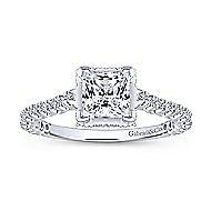 Matilda 14k White Gold Princess Cut Straight Engagement Ring angle 5