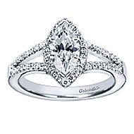 Mavis 14k White Gold Marquise  Halo Engagement Ring angle 5