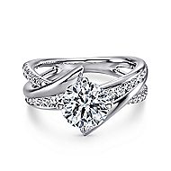 Melika 14k White Gold Round Bypass Engagement Ring angle 1