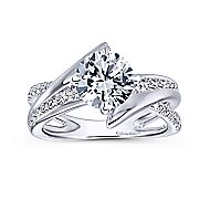 Melika 14k White Gold Round Bypass Engagement Ring angle 5