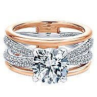 Merliah 18k White And Rose Gold Round Split Shank Engagement Ring angle 1