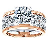 Merliah 18k White And Rose Gold Round Split Shank Engagement Ring angle 5