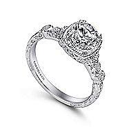 Metropolitan Platinum Round Straight Engagement Ring angle 3