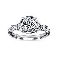 Metropolitan Platinum Round Straight Engagement Ring angle 5