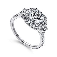 Mia 14k White Gold Cushion Cut 3 Stones Halo Engagement Ring angle 3