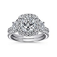 Mia 14k White Gold Cushion Cut 3 Stones Halo Engagement Ring