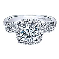 Micah 18k White Gold Round Halo Engagement Ring angle 1