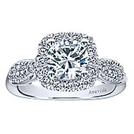 Micah 18k White Gold Round Halo Engagement Ring angle 5