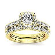 Milan 14k Yellow Gold Cushion Cut Halo Engagement Ring angle 4