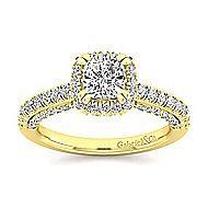 Milan 14k Yellow Gold Cushion Cut Halo Engagement Ring angle 5