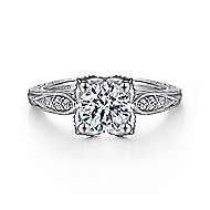 Millie 14k White Gold Round Straight Engagement Ring angle 1