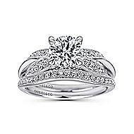Mimosa 18k White Gold Round Straight Engagement Ring