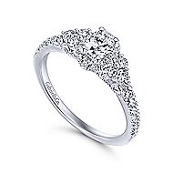 Mirabella 14k White Gold Oval Halo Engagement Ring angle 3