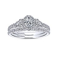 Mirabella 14k White Gold Oval Halo Engagement Ring angle 4