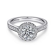 Missy 14k White Gold Round Halo Engagement Ring angle 1
