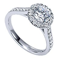 Missy 14k White Gold Round Halo Engagement Ring angle 3
