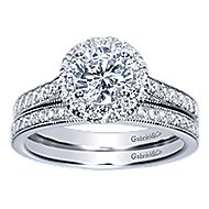 Missy 14k White Gold Round Halo Engagement Ring angle 4