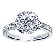 Missy 14k White Gold Round Halo Engagement Ring angle 5