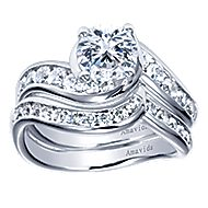 Mita 18k White Gold Round Bypass Engagement Ring angle 4