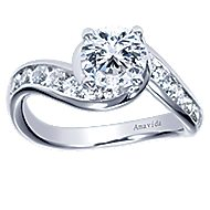 Mita 18k White Gold Round Bypass Engagement Ring angle 5