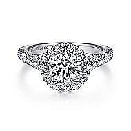 Mona 18k White Gold Round Halo Engagement Ring angle 1