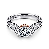 Monica 14k White And Rose Gold Round Straight Engagement Ring angle 1