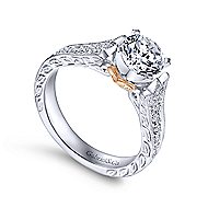 Monica 14k White And Rose Gold Round Straight Engagement Ring angle 3