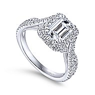 Monique 14k White Gold Emerald Cut Halo Engagement Ring angle 3