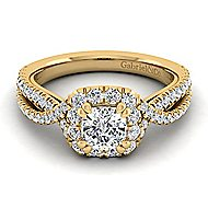 Monique 14k Yellow Gold Cushion Cut Halo Engagement Ring angle 1