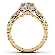 Monique 14k Yellow Gold Cushion Cut Halo Engagement Ring angle 2