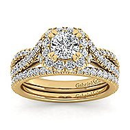 Monique 14k Yellow Gold Cushion Cut Halo Engagement Ring angle 4
