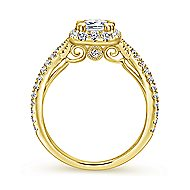 Monique 14k Yellow Gold Emerald Cut Halo Engagement Ring angle 2