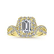 Monique 14k Yellow Gold Emerald Cut Halo Engagement Ring angle 5