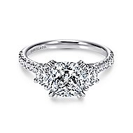 Monroe 14k White Gold Cushion Cut 3 Stones Engagement Ring angle 1