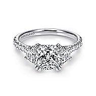 Monroe 14k White Gold Cushion Cut 3 Stones Engagement Ring angle 1